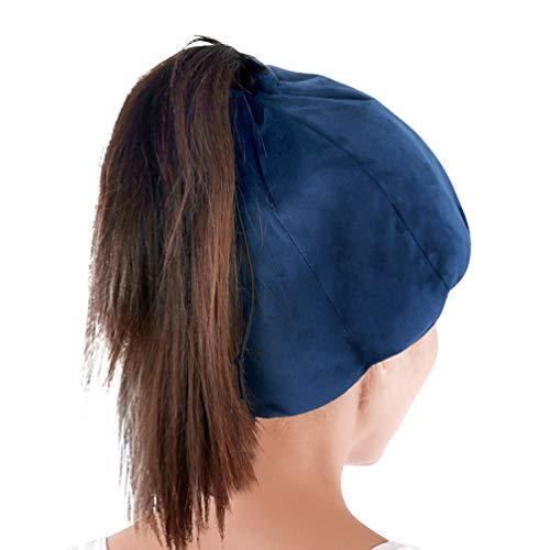 ICEHOF Kühlmütze mit 8 Kühlakkus (Sanfter Stoff) - Mit Haaröffnung & Gummibinder - Kühlende Gel-Mütze für Kopfhaut bei Chemo-Therapie Ice Cap Migräne Kopfschmerzen