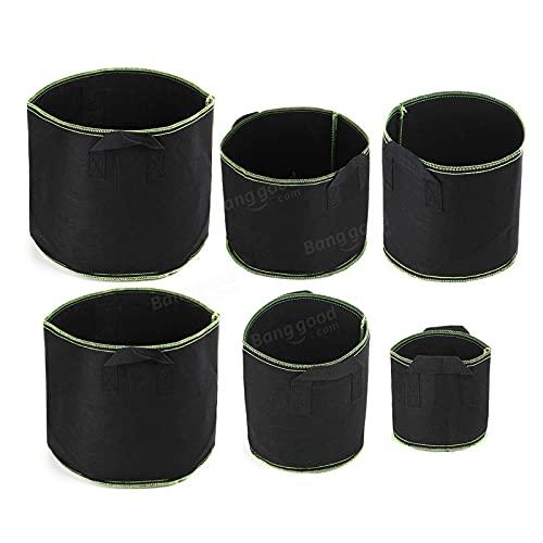 Zjcpow Pflanzen-Wachstumstaschen, schwarz, Stoff-Belüftung, atmungsaktiv, Pflanzgefäß-Behälter für Obst, Gemüse, Blumentöpfe (Farbe: Schwarz, Größe: 3)
