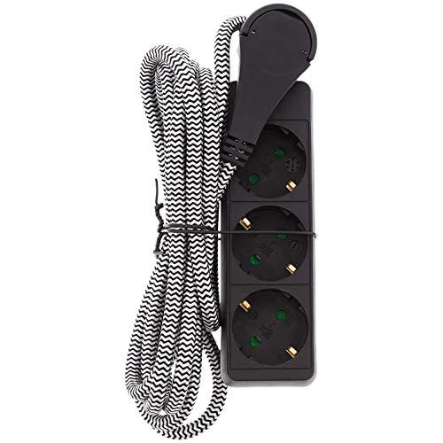 Steckdosenleiste mit Flachstecker ohne Schalter 2,5 m lang Textilkabel geerdet 3 Fach Max 3680 W