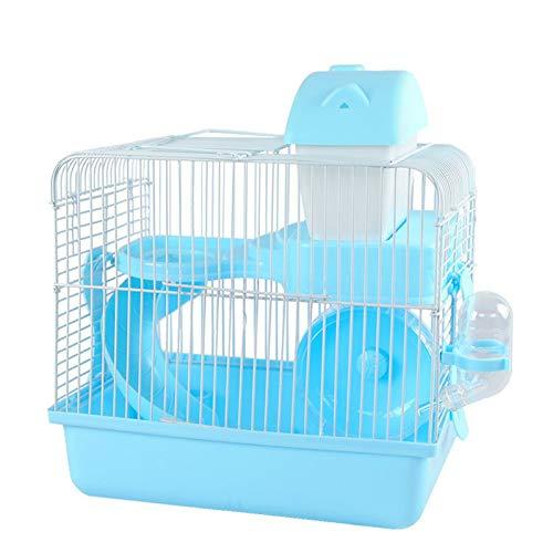 SYLTL Jaula para Animales Pequeños, Portátil Jaula De Conejillo De Indias, Impermeable Jaula para Mascotas Jaula para Hámster con Accesorios,26.5 * 20 * 30cm,Azul