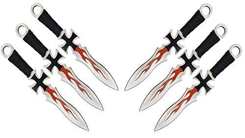 KOSxBO® 6 Wurfmesser Eiseners Kreuz Darts Wurfmesserset SONS of Germany Edition hochwertige Kunai Messer ca. 17,5 cm inklusive 2 Holster und Gürtelclip - Edelstahl - Elite German Knife