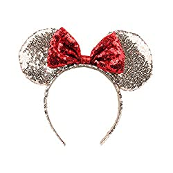 Gold sequence with red sequence bow Minnie Mouse Ears on Amazon