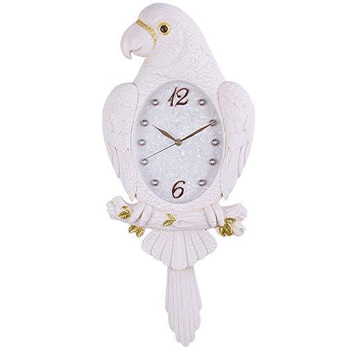 Reloj de pared Reloj de pared creativo del loro decoración del reloj de pared oscilación del reloj mudo del reloj de pared Sala de estar colgados de la pared del reloj de cuarzo ( Color : Beige )
