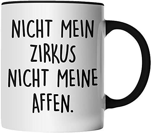 DragonHive Tasse - Nicht mein Zirkus nicht meine Affen - beidseitig Bedruckt - Geschenk Idee Kaffeetasse mit Spruch, Tassenfarbe: Schwarz