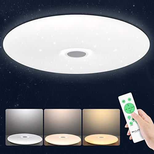 SHILOOK Deckenleuchte LED Dimmbar mit Fernbedienung, 24W Sternenhimmel Deckenlampe Rund für Schlafzimmer Kinderzimmer Wohnzimmer Küche, Rund Weiß, Ultra Dünn (38cm, Dimmbar)