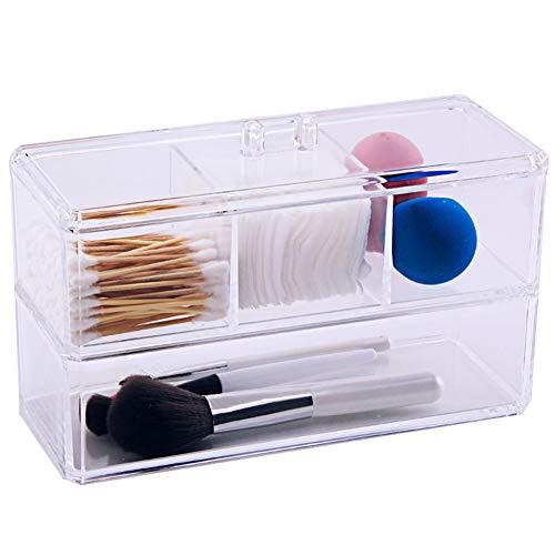 Kitrack Coton-Tige Coton-Brosse De Maquillage Porte-CosméTiques Organisateur De Rouge à LèVres Acrylique BoîTe
