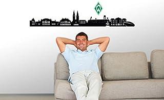 Wall-Art Wandtattoo, Aufkleber - Werder Bremen Skyline schwarz mit Werder Logo farbig - 120x19 cm, Logo 12x18 cm - Art. Nr. brem10031