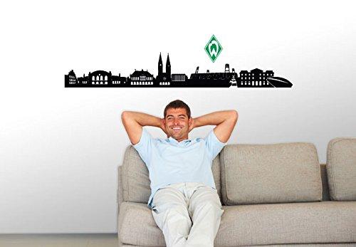 Wandtattoo, Aufkleber - Werder Bremen Skyline schwarz mit Werder Logo farbig - 120x19 cm, Logo 12x18 cm - Art. Nr. brem10031 - Wall-Art
