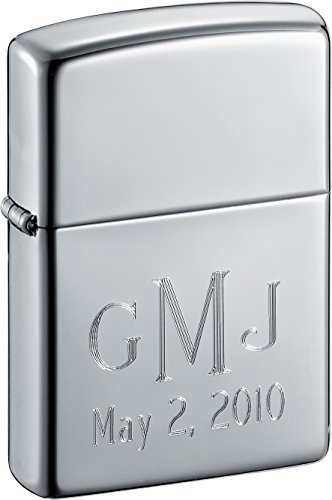 Monogrammed Zippo Lighter with Roman Monogram Fonts - Free Engraving