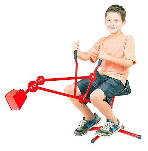 Izzy Premium Sitzbagger Kinder aus Metall rot Bagger Sandkasten 35kg