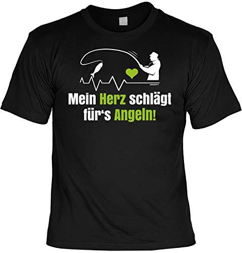 Angler Fun T-Shirt - Mein Herz schlägt für s Angeln - Fischer Geburtstag mit Blechschild als Geschenk