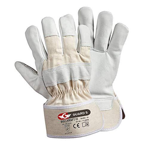 GUARD 5 - Leder- Arbeitshandschuhe 5 Paar hochwertige robuste Gartenhandschuhe Schutzhandschuhe dornensicher und stichfest mit reißfester gummierter Canvas-Stulpe - Gr. 10,5
