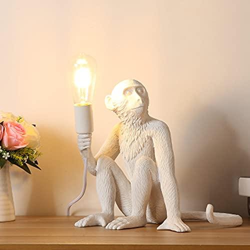 WODQYAZ Accesorio de Iluminación de Pared Industrial, Lámpara Monkey Vintage de Resina Lámpara de Pared para el Dormitorio de la Sala de Estar Decoración del Club (Blanco)