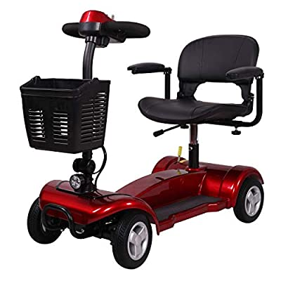 Portable Mobility Scooter 4mph Class 2 Travel Pavement Fits in Most Car Boots 4 (Red)