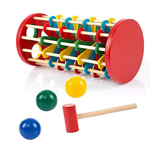 XIAPIA Juguete Bebes 1 Año Madera Montessori Juguete de Construcción de Pista de Bola Aprendizaje Centro de Actividades Puzzle Cubos Apilables Juego para Apilar y Encajar
