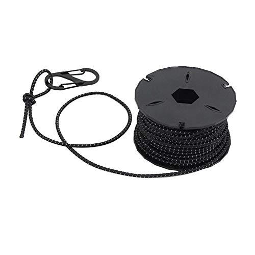 ETbotu Outdoor-Ausrüstung, persönliche Ausrüstung – 15 m starkes, elastisches Seil, Bungee-Schock-Schnur, Stretch, für Heimwerker, Outdoor-Projekte, Zelt, Kajak, Boot, Seil, schwarz, 3 mm