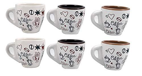 arca Set Composto da 6 TAZZINE da Caffe' in Ceramica Modello Bar Decorate - Grande Spessore - MANTENGONO Il Caffe Caldo A Lungo - Confezione Decorata - DONANO ALLEGRIA E Fiducia in CASA