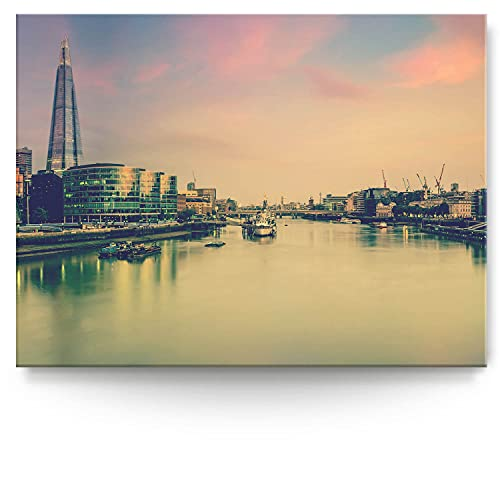 BilderKing Intensiv & Impostant 200x150cm großes Leinwand-Bild. Skyline London, abstrakt als Wandbild auf 4cm tiefen Keilrahmen. Eindrucksvoller können Sie Ihren Raum Nicht in Szene setzen