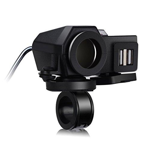 TurnRaise 2.1A Dual 2 Puertos USB Moto Cargador + 12v Encendedor Enchufe con Interruptor para Barco Coche