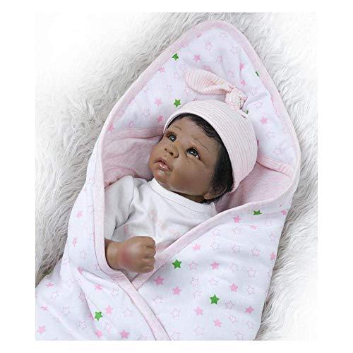 Reborn Babypuppen Gedächtnishilfen Reborn Puppe Schwarze Haut Soft Tape Körpersimulation Babypuppe 22