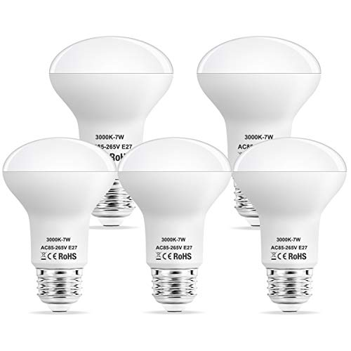 Suncan LED Reflector E27 R63, 7W Replacement for 60 W Halogen Lamps, 560 Lumen, Warm White 3000K, 180° Beam Angle, Not Dimmable, Pack of 5