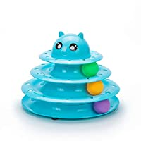 ★Size: 9.5 x 9.5 x 7.5 inches, 9 ounces, 3 level of tracks with 3 different colored balls. ★Multi Level Tracks: The cat toy attracts kitten to play and entertain for several hours and yet your lovely cat won't feel boring. Perfect for one or more cat...