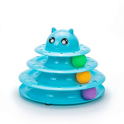 Vealind Interaktives Trainingsgerät für Katzen, Schichtenturm auf 3 Ebenen, Katzenspielzeug (Blau)