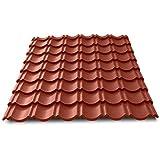 Tôle imitation tuiles emboîtable mat texturé - IRIS® - Rouge mat texturé   RAL 8012, 1200 x 946 mm - 1.00 m²