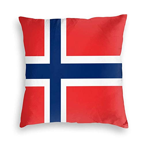 SUN DANCE Flag of Norway Throw Pillow Cover Decorative Soft Cushion Cases Square Pillowcase for Sofa/Couch/Car/Bed 20'x20'