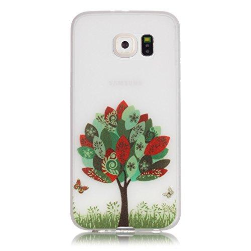 ISAKEN Compatibile con Samsung Galaxy S6 Custodia - Agganciabile Luminosa Cover Case con Lampeggiante Ultra Sottile Morbido TPU Cover Rigida Gel Silicone Protettivo Custodia - Albero Farfalla