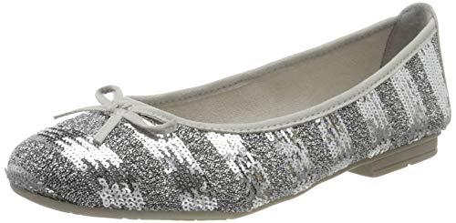 Jana Softline Damen 8-8-22162-24 Geschlossene Ballerinas, Grau (Silver Met STR 920), 38 EU