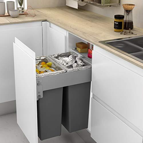 Cubo de Basura Frontal Integrado con 2 contenedores de 35L para Mueble de Cocina, Ancho 412 418 mm
