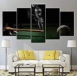 JIANGDL Mesa de Billar Billar Hombre Impresiones en Lienzo 5 Piezas Lienzo Arte de la Pared Decoración Moderna de la Pared decoración de la Sala de Estar del hogar Cartel de Regalo Creativo