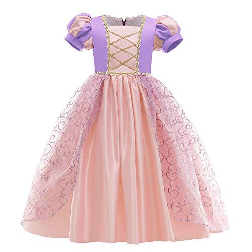 Vestido de princesa Rapunzel para nia, de tul, largo, para Halloween, cosplay, fiesta, carnaval, Navidad, cumpleaos, dama de honor, talla 98 - 140 Rosa 11-12 Aos