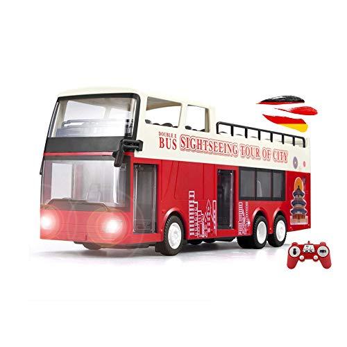 RC - Bus turistico radiocomandato a due piani, con illuminazione, telecomando e batteria, modello di camion, auto, auto, auto, auto, auto, scala 1:18