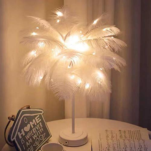 Yize LED Fernbedienung Federlampe,moderne minimalistische Schlafzimmer Nachttischlampe,modische Tischlampe (Weiß)