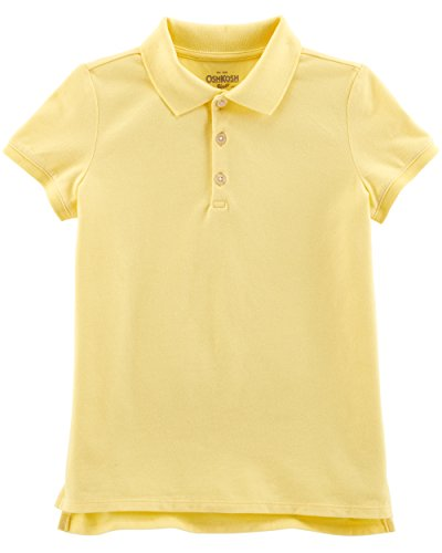 Osh Kosh Girls' Short Sleeve Uniform Polo, Yellow 1, 7