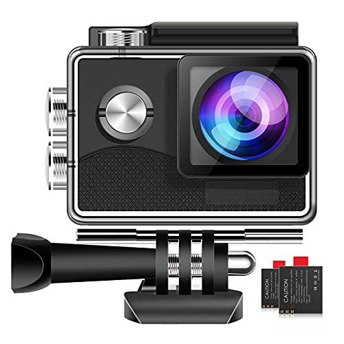 Action Cam 4K WiFi Unterwasserkamera, Actionkamera mit Touchscreen EIS Einstellbarer 170° Weitwinkel Helmkamera mit 2 Wiederaufladbaren 1050mAh Batterien und Zubehörkits