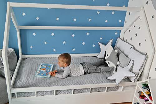 Solenzo - Lit cabane pour Enfant avec sommier et barrière (Lit Blanc + Matelas, 80x160cm)