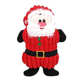 Boodtag Jouets à Couinement Chien Noël Poupée Cadeau Cartoon Christmas Snowman Santa Claus Reindeer pour Animal Compagnie (Style A)