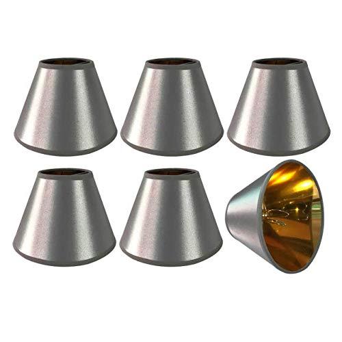 Lampenschirme für Kronleuchter und Hängelampen, Grau, mit goldfarbenem Futter, 6 Stück