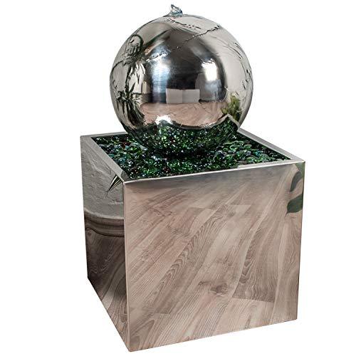 Köhko® Springbrunnen Ø 28 cm mit LED-Beleuchtung in eckigen Edelstahlbecken hochglanzpoliert 21015 Gartenbrunnen aus Edelstahl