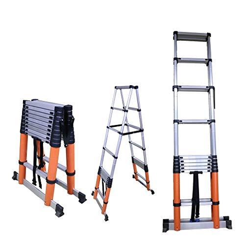ZCF Escalera telescópica Escalera Dúo de Aluminio con Pies Antideslizantes, Seguro, Estable, Marco A para Constructor de Interiores y Exteriores DIY Easy Carry (Size : 2.6m/8.5ft)