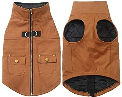 Ctomche Windproof Dog Coat Outdoor Clothing,Pet Coat Dog Cold Weather Vest,Dog Winter Coat,cotton duck dog vest with water-repellent coating,zipper and Pockets Khaki-L