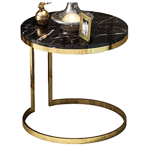 GYX-Coffee Tables Round Marble Top Side Table with Gold Frame for Living Room Furniture (47x47x55.5CM)
