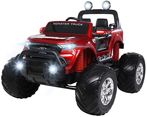 Actionbikes Motors Kinder Elektroauto Ford Ranger Monster - 4 x 45 Watt Motor - Touchscreen - Allrad - 2-Sitzer - Rc Fernbedienung - Elektro Auto für Kinder ab 3 Jahre (Weinrot Lackiert)