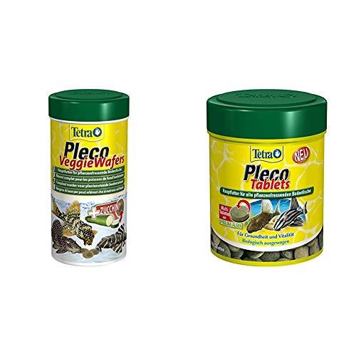 Tetra Pleco Veggie Wafers, Hauptfutter für pflanzenfressende Bodenfische, Alleinfutter mit mineralreicher Zucchini, 250 ml Dose & Pleco Tablets – Nährstoffreiches Hauptfutter, Verschiedene Größen