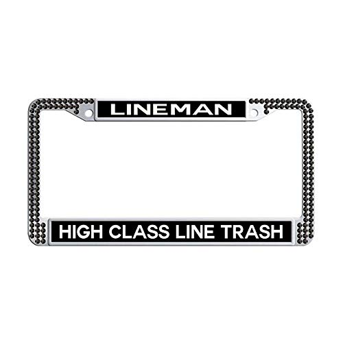 Toanovelty High Class Line Trash Lineman Sparkle Crystal Car tag Frame, Luxury Waterproof Black Bling Car License Plate Holder 6' x 12' in