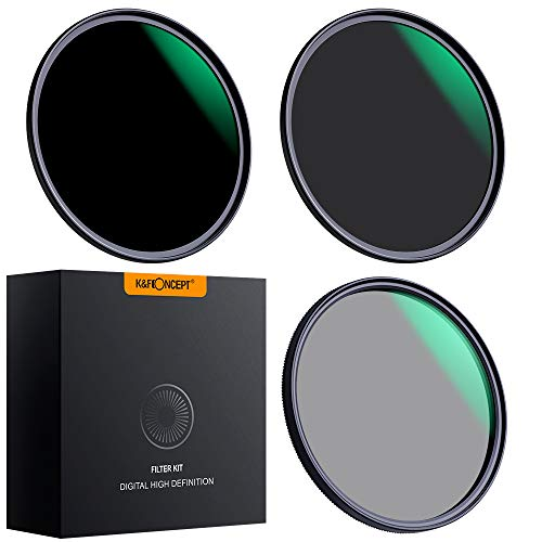 K&F Concept Filter Set 62mm CPL+ND8+ND64 Filterset Super Slim CPL Filter Polfilter und Neutral Dichte Graufilter