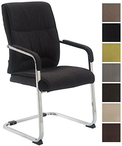 XXL-Freischwinger Anubis Mit Gepolsterter Sitzfläche I Konferenzstuhl Mit Metallgestell In Chrom-Optik Und Stoffbezug, Farbe:schwarz